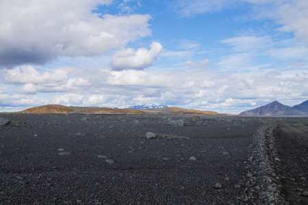 Dirt road along central highlands of Iceland. Iceland landscape. Route F907 免版税图像