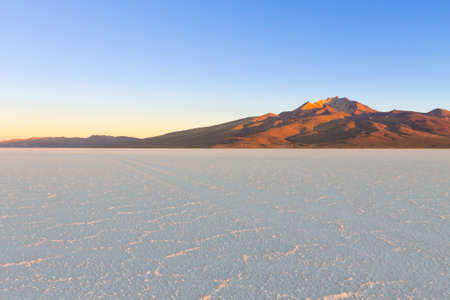 Salar de Uyuni, Bolivia. Largest salt flat in the world. Bolivian landscape. Cerro Tunupa view