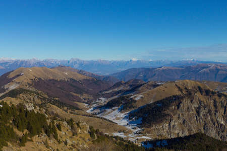 Winter landscape from Grappa mountain, Italian Alps