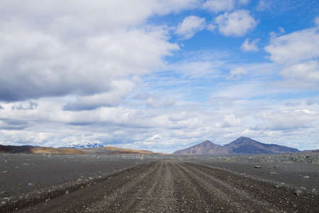 Dirt road along central highlands of Iceland. Iceland landscape. Route F907 Stock Photo