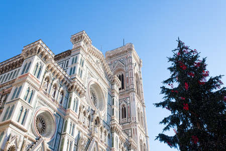 View of Florence Cathedral with Giotto bell tower, Italy. Italian landmark Stock Photo - 131960324