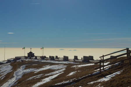Monte grappa first world war memorial winter view, Italy. Italian landmark