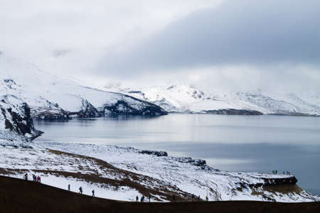 Oskjuvatn lake at Askja, Iceland. Central highlands of Iceland landmark. Volcanic view
