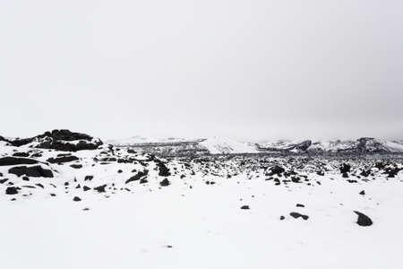 Landscape with snow, Askja caldera area, Iceland. Central highlands of Iceland