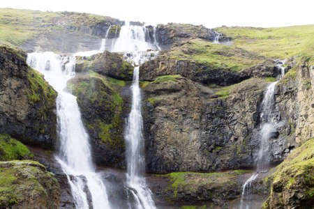 Iceland landscape. Rjukandafoss waterfall close up, Iceland highlands landmark