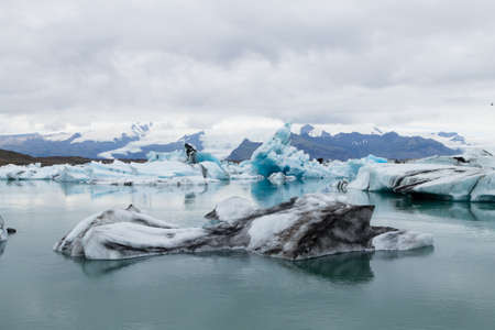 Jokulsarlon glacial lake, Iceland. Icebergs floating on water. Iceland landscape