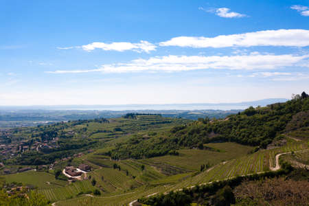 Valpolicella hills landscape with Garda lake in background. Italian viticulture area, Italy.