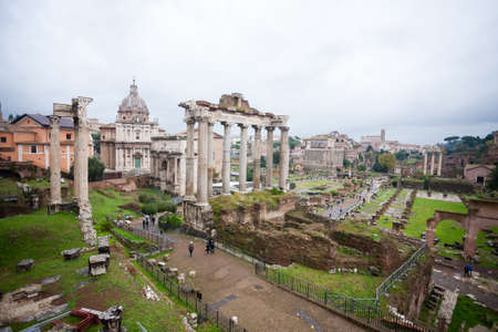 Imperial forums view, Rome, Italy. Roma landscape. Old ruins