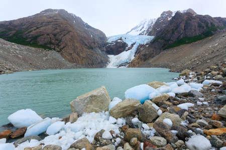 Piedras Blancas Glacier view, Los Glaciares National Park.  El Chalten, Patagonia Stock Photo