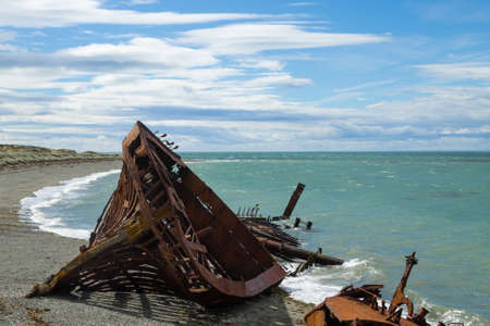 Wreckages on San Gregorio beach, Chile historic site. Beached ships