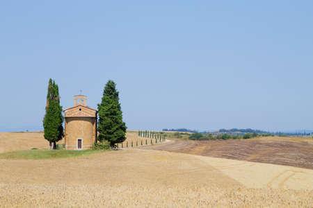 Isolated church in tuscany hills, Italian landscape. Church of Madonna di Vitaleta