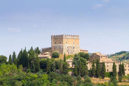 Ripa dOrcia castle view, Tuscany landmark, Italy. Italian landscape
