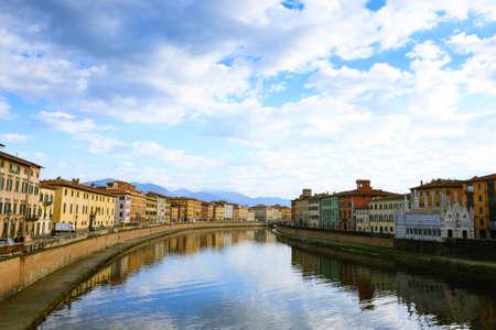 Pisa view. Buildings along Arno river. Italian landmark, Tuscany
