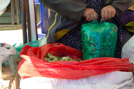 Bag of coca leafs from Bolivian traditional market, Bolivia