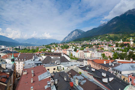 Innsbruck city center aerial view.  Old town view from clock tower