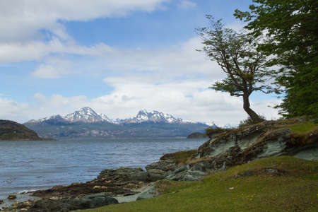 Hoste island view, Tierra Del Fuego National Park, Argentina. Land of fire Stock Photo