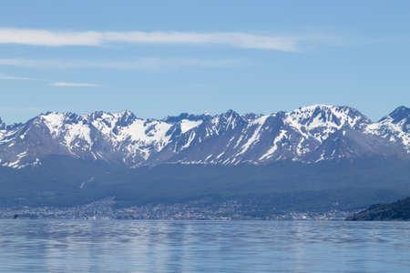 Ushuaia cityscape from Beagle channel, Argentina landscape. Tierra del Fuego