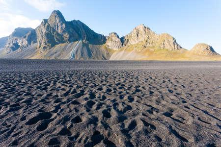 Hvalnes lava beach landscape, east Iceland landmark. Iceland scenery