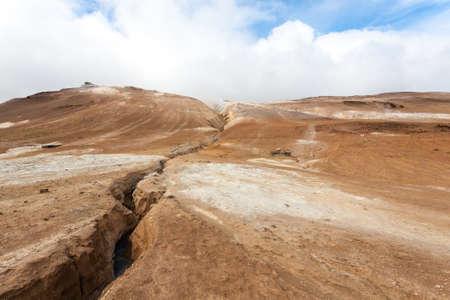 Hverir mud pools view, Iceland landmark. Icelandic landscape 版權商用圖片