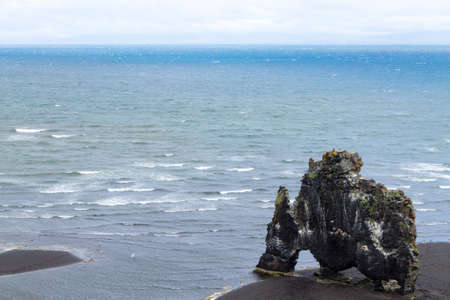 Hvitserkur sea stack, Iceland. Black sand beach. North Iceland landmark 版權商用圖片 - 131733288