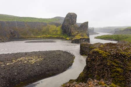 Iceland landscape. Jokulsargljufur National Park on a raining day, Iceland
