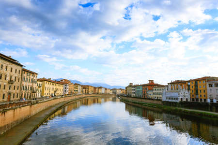 Pisa view. Buildings along Arno river. Italian landmark, Tuscany