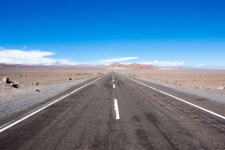 Road to San pedro de Atacama, Chile landscape. Tarmac road perspective view