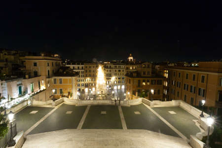 Spanish Steps night view, Rome landmark, Italy. Roma, Italia