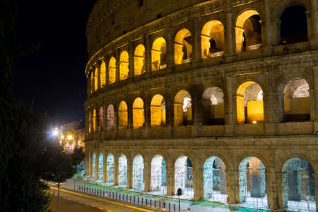 Colosseum night view, Rome landmark, Italy. Colosseo, Roma Stock Photo