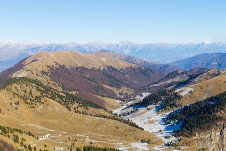 Winter landscape from Grappa mountain, Italian Alps 版權商用圖片