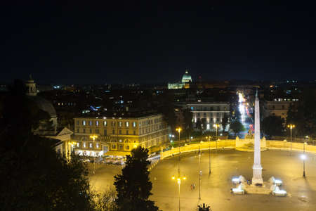 People square night view, Rome. Piazza del popolo, Roma. Italian landmark