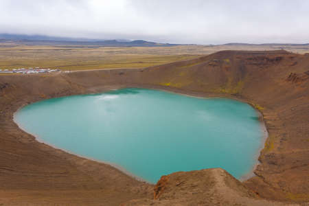 Viti crater with green water lake inside. Krafla Viti Crater, Iceland