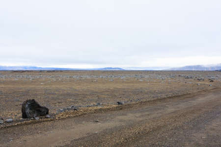Iceland landscape along the road to Askja. Desolate Icelandic panorama