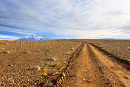 Dirt road from Hvitarvatn area, Iceland landscape. Road in perspective view. Фото со стока - 131732852