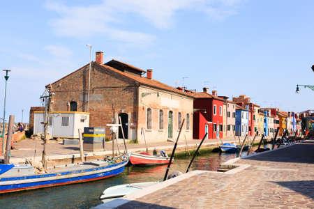 Colored houses view. Burano island, Venice. Traditional italian landscape. Editorial