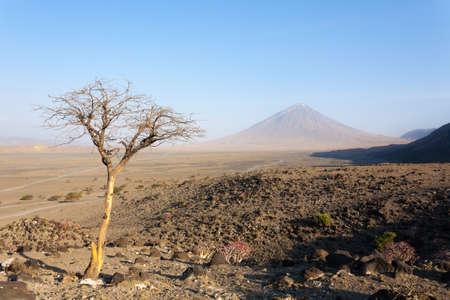 Lake Natron area landscape, Tanzania, Africa. Ol Doinyo Lengai volcano. Mountain of God. African panorama