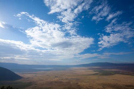 Ngorongoro crater aerial view, Tanzania, Africa. Tanzania landscape