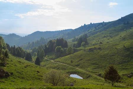 Spring mountain landscape, mount Grappa, Italy. Italian alps