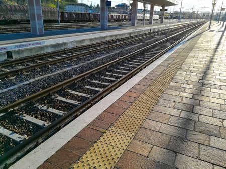 Train tracks perspective view. Transportation mode. Stockfoto