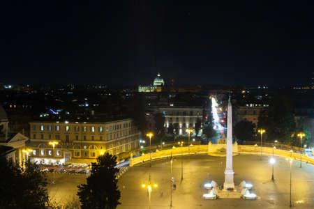 People square night view, Rome. Piazza del popolo, Roma. Italian landmark