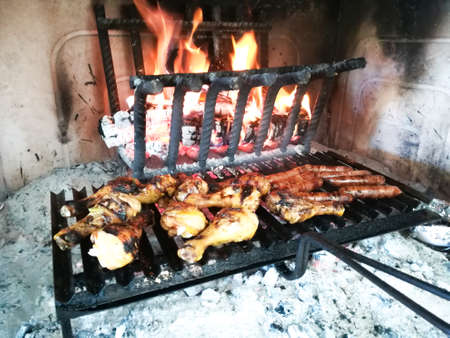 Grilled meat cooked on fireplace Stockfoto