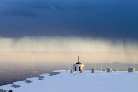 First world war memorial during storm, Italy landmark. Monte grappa,italian alps Archivio Fotografico