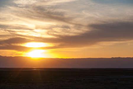 Sunset at Lake Manyara, Tanzania landscape, Africa. Dramatic sky