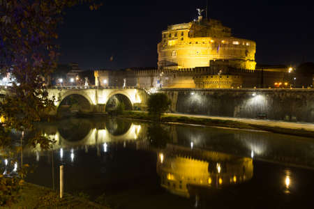 Night scene of Rome, Tevere river and Mausoleum of Hadrian. Italian landmark