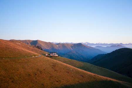 Dawn at mount Grappa. Italian alps landscape, Italy. Italian alps panorama Stockfoto