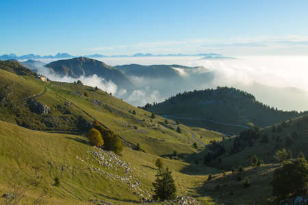 Mountain landscape. Mount Grappa panorama, Italian alps. Italy.