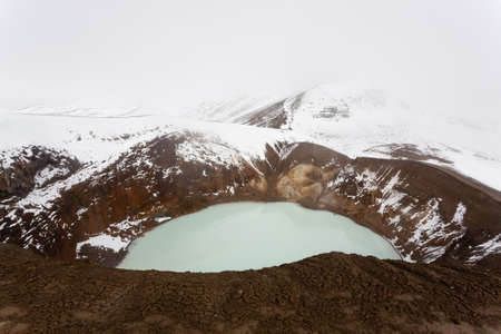 Viti caldera at Askja, Iceland. Central highlands of Iceland landmark. Volcanic view Banco de Imagens