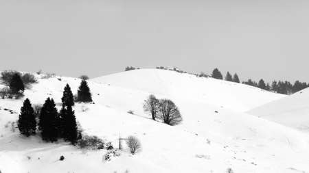 Mountain landscape in winter season. Mount Grappa landscape. Italian alps