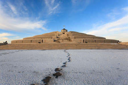 Mount Grappa first world war memorial view, Italy. Italian landmark