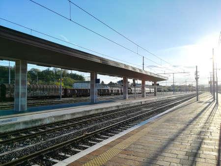 Train tracks perspective view. Transportation mode. Archivio Fotografico